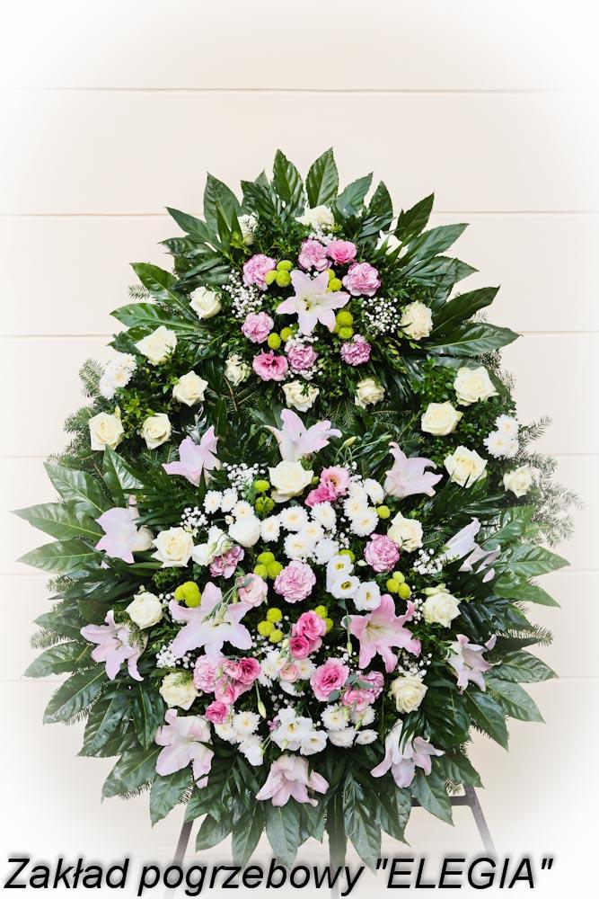 Różowy wieniec pogrzebowy kwiaty na pogrzeb w warszawie