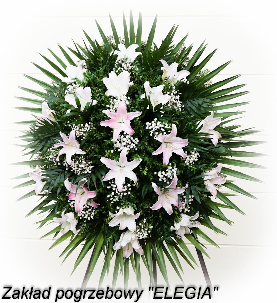 Mały wieniec pogrzebowy wykonany przez zakład pogrzebowy