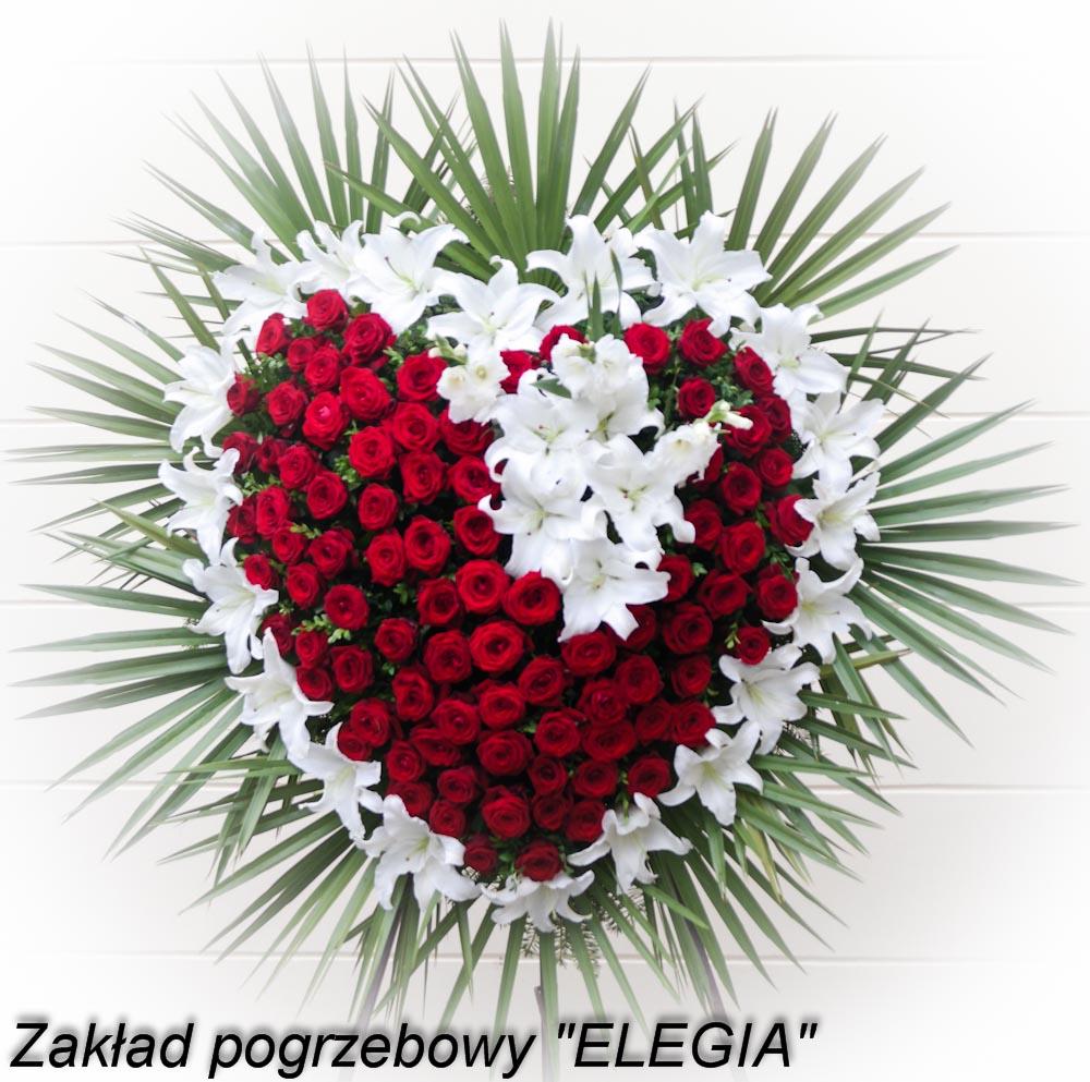 Kwiaty do pogrzebu wieniec serce zakład pogrzebowy elegia