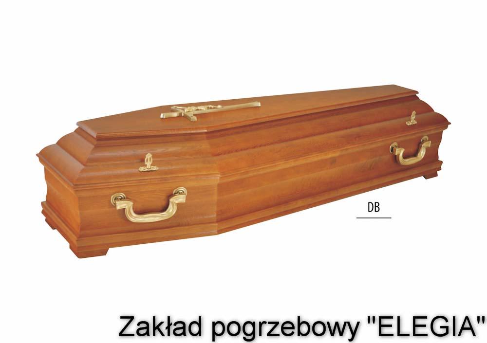 Dębowa trumna pogrzebowa model DB zakład pogrzebowy warszawa