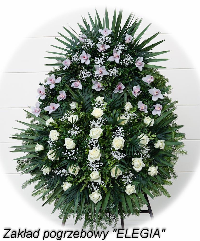 Kwiaty na pogrzeb zorganizowany przez biuro usług pogrzebowych elegia