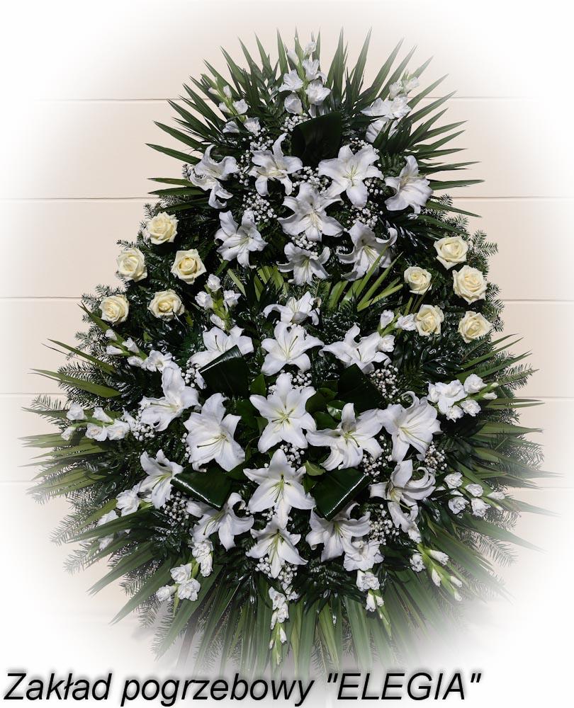 Biały wieniec pogrzebowy na pogrzeb w warszawie